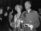 ExKing Leopold III of Belgium accompanies Charlotte Grand Duchess of Luxembourg at the wedding of Prince Jean of Luxembourg and Princess Josephine...