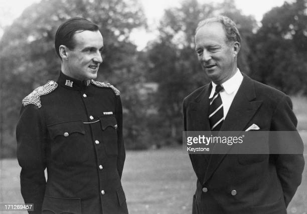 ExKing Leopold III of Belgium with Captain WA Fendlay commanding officer from the 5th Royal Inniskilling Guards at Ciergnon Castle for the unveiling...