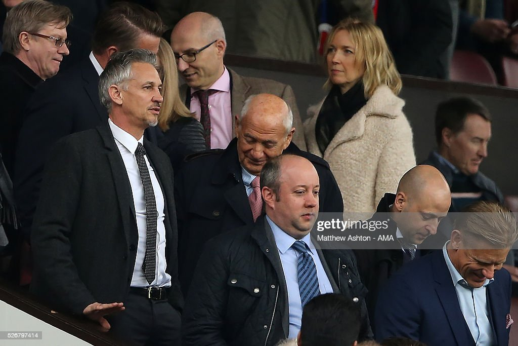Ex-Manchester United Goalkeeper Peter Schmeichel and Ex-Leicester City player and TV pundit Gary Lineker (L) look on during the Barclays Premier League match between Manchester United and Leicester City at Old Trafford on May 1, 2016 in Manchester, United Kingdom.