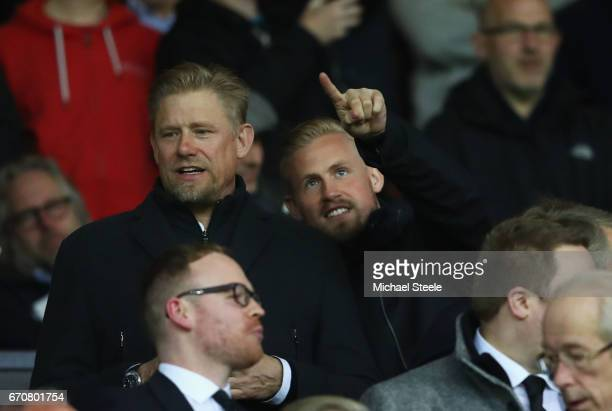 ExManchester United goalkeeper Peter Schmeichel and son Kasper Schmeichel of Leicester City look on prior to the UEFA Europa League quarter final...