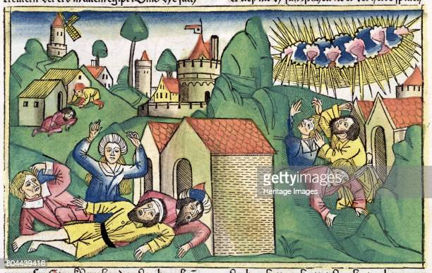 110 the death of the firstborn sons one of The Seven Plagues of Egypt Facsimile copy of a 15th century manuscript of the German School Artist Unknown