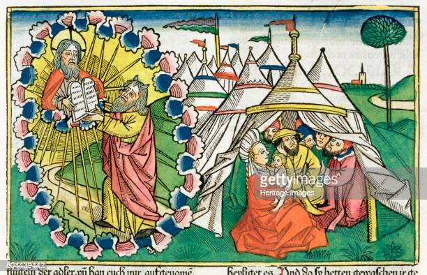 15 Moses receiving the Ten Commandments Facsimile copy of a 15th century manuscript of the German School Artist Unknown