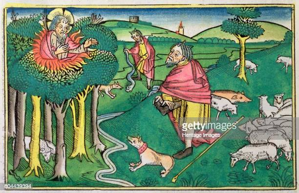 122 and 414 the burning bush amd God arming Moses with the miraculous rod Facsimile copy of a 15th century manuscript of the German School Artist...