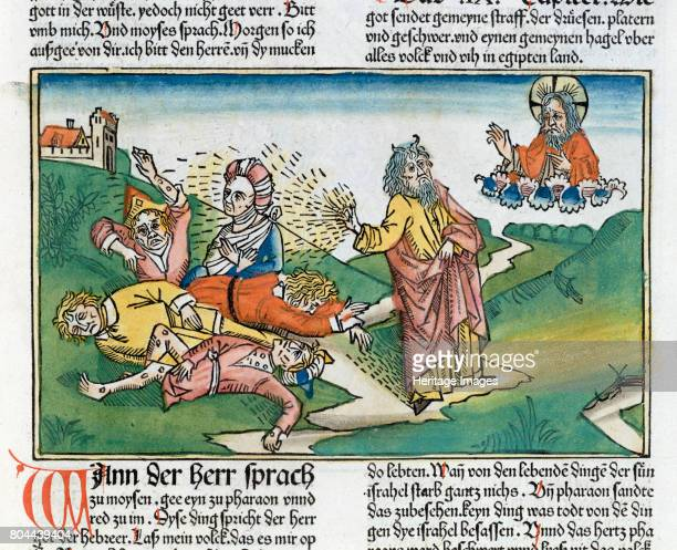 812 Moses and the plague of boils one of the Seven Plagues of Egypt Facsimile copy of a 15th century manuscript of the German School Artist Unknown
