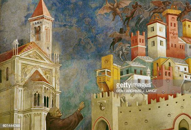 Exorcism of the Demons at Arezzo fresco detail Saint Francis cycle by Giotto Upper Basilica of St Francis Assisi Umbria Italy