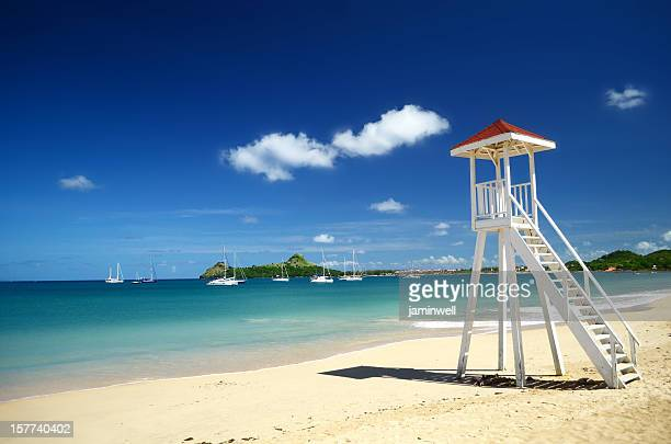 exotic beach with lifeguard tower