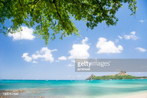 Caribbean Beach Scenes: Exotic Caribbean Summer Beach Scene Stock Photo