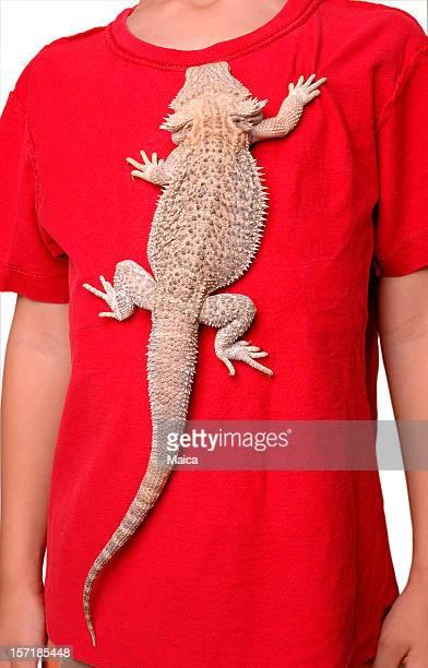 Exotic Pet Lizard Climbing Boy's Shirt