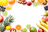 Exotic tropical fruits isolated on white background