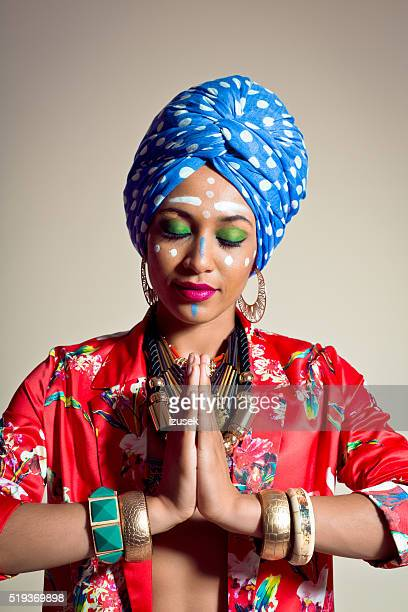 Exotic Young Woman wearing blue turban