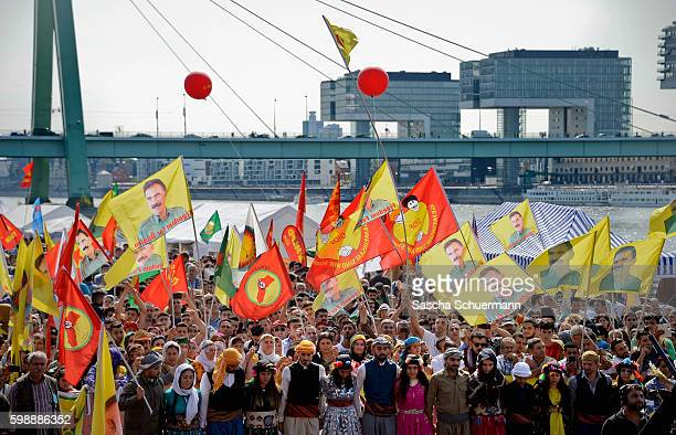 Expatriate Kurds living in Germany attend a rally to protest against Turkish President Recep Tayyip Erdogan on September 3 2016 in Cologne Germany...