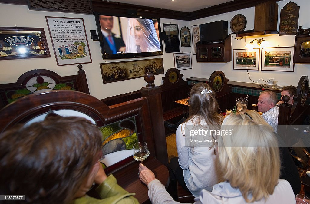 Expatriates and British tourists watch a telecast of the royal wedding at a pub on April 29, 2011 in Venice, Italy. The wedding of Britain's Prince William and Kate Middleton took place at Westminster Abbey in London.