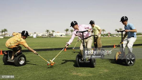 Expatriates play polo on Segway Human Transporters before a charity polo match at Dubai Polo Club on March 31 2006 in Dubai United Arab Emirates The...
