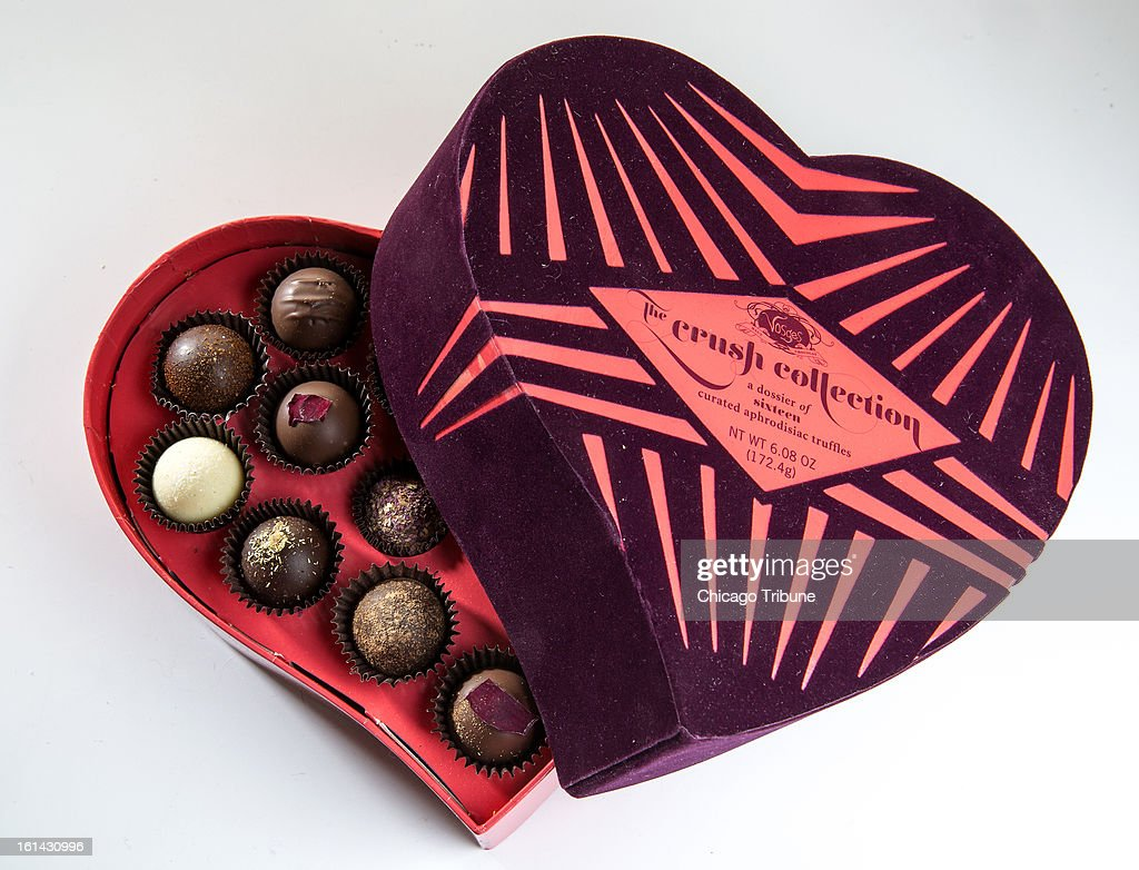 Expect nothing less than exotic from Vosges Haut-Chocolat's Valentine-themed Crush Collection. The aphrodisiac-inspired truffles boast spices, crushed flowers, spirits (Swiss absinthe, Dominican rum) and a few outrageous items (edible pearl dust, kumamoto oyster-infused cream, etc.) (Bill Hogan/Chicago Tribune/MCT via Getty Images