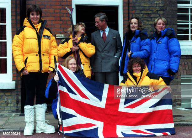 Expedition patron the Prince of Wales meets the six members of the Women's South Pole 2000 team at St James Palace London Caroline Hamilton Rosie...