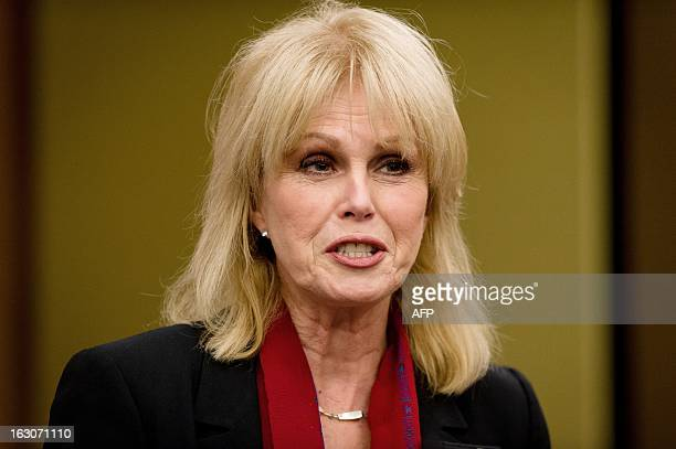 Expedition trustee Joanna Lumley speaks to the media during a press conference at a hotel in in Heathrow airport's terminal 5 after British explorer...