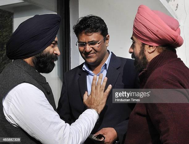 Expelled Aam Aadmi Party MLA Vinod Kumar Binny with BJP MLA RP Singh and Shiromani Akali Dal MLA Manjinder Singh Sirsa during orientation programme...