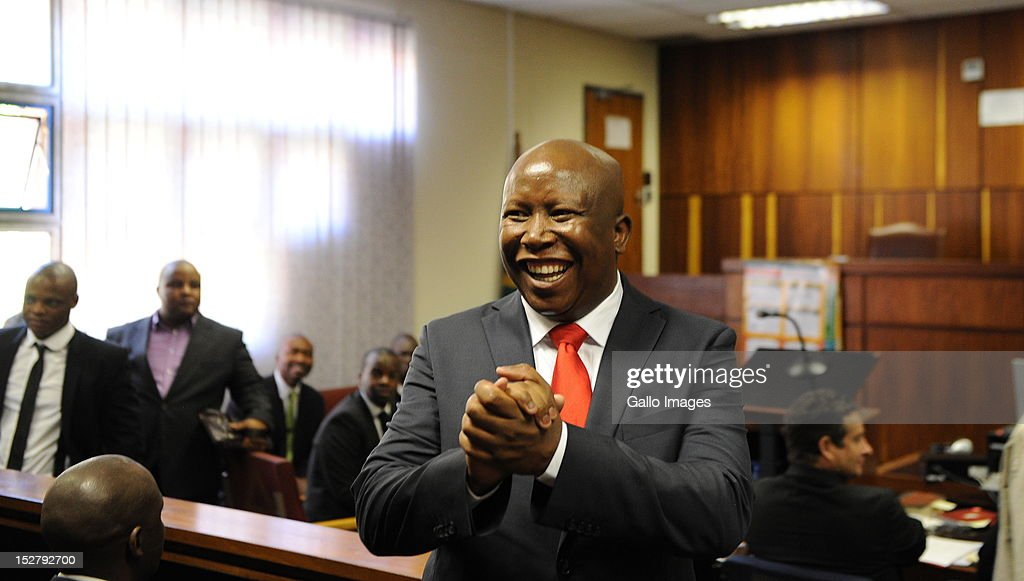 Expelled ANC Youth League President <a gi-track='captionPersonalityLinkClicked' href=/galleries/search?phrase=Julius+Malema&family=editorial&specificpeople=5866727 ng-click='$event.stopPropagation()'>Julius Malema</a> appears in Polokwane Magistrates Court on September 26, 2012 in Polokwane, South Africa. There was speculation that Malema and his business associates would face charges of fraud, corruption and money laundering but only charges of money laudering were brought against him. Malema was released on bail of R10 000.