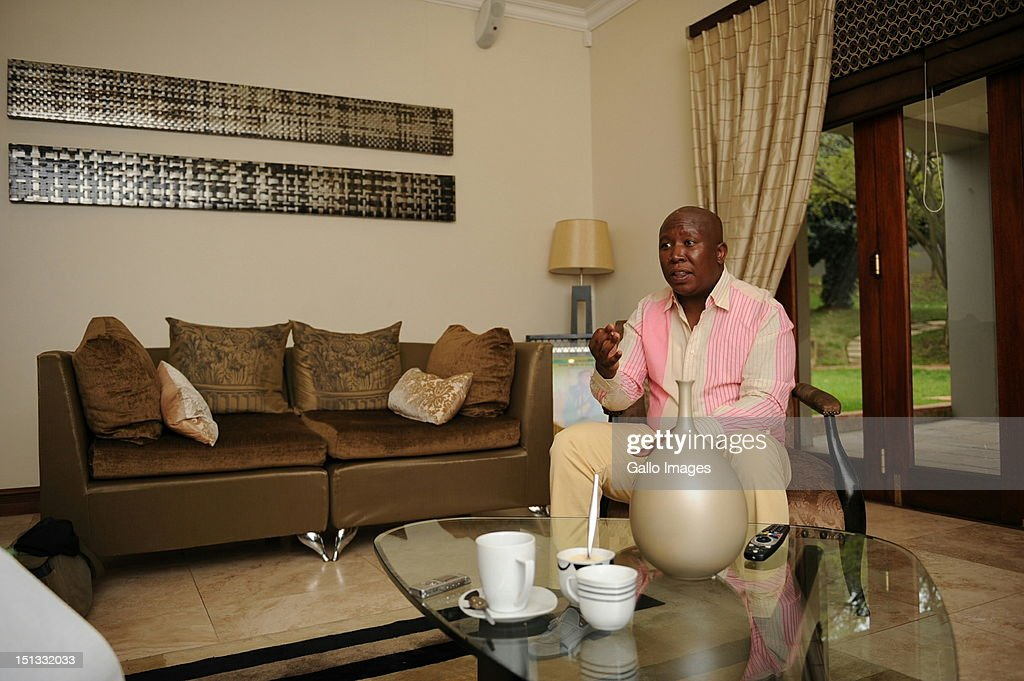 Expelled ANC Youth League President <a gi-track='captionPersonalityLinkClicked' href=/galleries/search?phrase=Julius+Malema&family=editorial&specificpeople=5866727 ng-click='$event.stopPropagation()'>Julius Malema</a> in his Sandton home on September 5, 2012 in Johannesburg, South Africa. Malema is being accused of being opportunistic by supporting striking Lonmin mine workers in their demands for a wage increase.