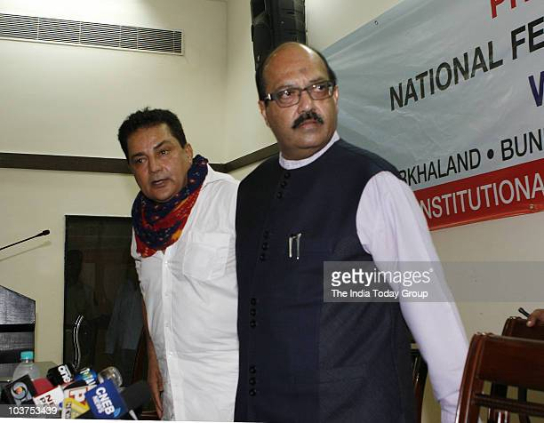 Expelled Samajwadi Party leader Amar Singh and Raja Bundela an activist of Bundelkhand during the press conference on the issue of separate states in...