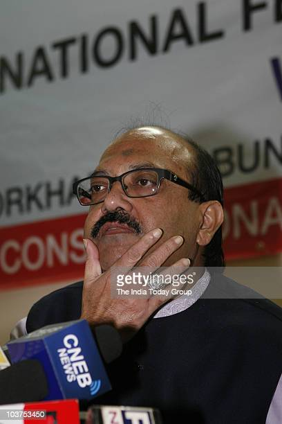 Expelled Samajwadi Party leader Amar Singh during the press conference on the issue of separate states in New Delhi on Tuesday August 31 2010