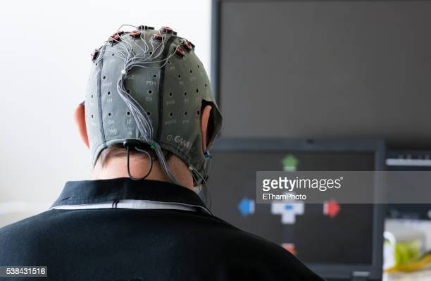 Experiment with Brain-Computer Interface (BCI) in neuroscience laboratory