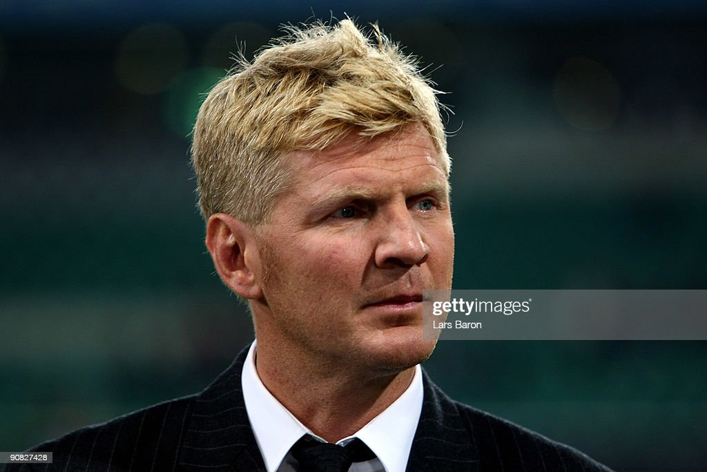 TV expert and former player <a gi-track='captionPersonalityLinkClicked' href=/galleries/search?phrase=Stefan+Effenberg&family=editorial&specificpeople=786838 ng-click='$event.stopPropagation()'>Stefan Effenberg</a> is seen during the UEFA Champions League Group B match between VfL Wolfsburg and CSKA Moscow at the Volkswagen Arena on September 15, 2009 in Wolfsburg, Germany.