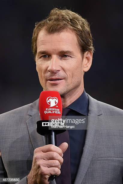 TV expert Jens Lehmann is seen prior to the EURO 2016 Group D qualifying match between Germany and Ireland at Veltins Arena on October 14 2014 in...
