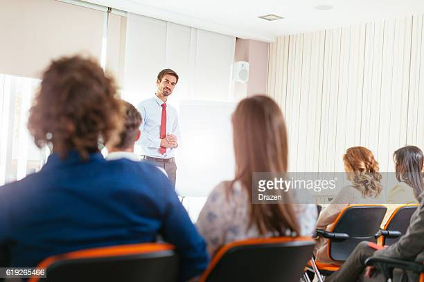 Expert on conference presenting new business opportunities