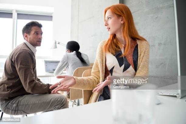 Explaining her business plan