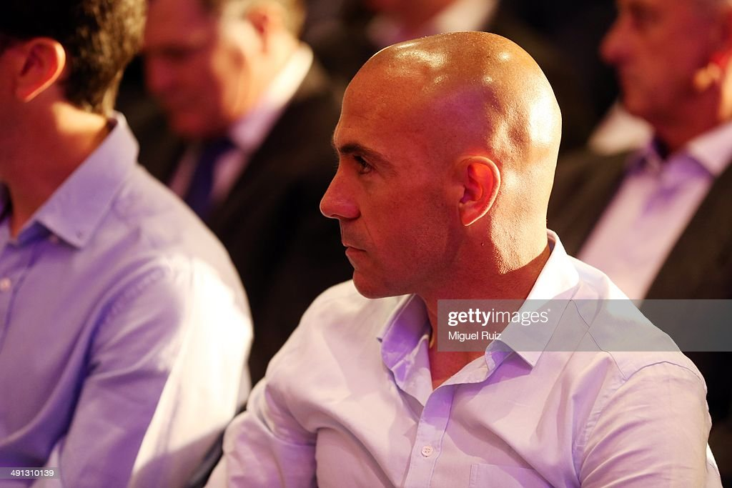 Ex-Player of FC Barcelona Ivan de la Peña pays attention during the farewell press conference as Puyol leaves FC Barcelona at the Auditorium 1899 on May 15, 2014 in Barcelona, Spain.