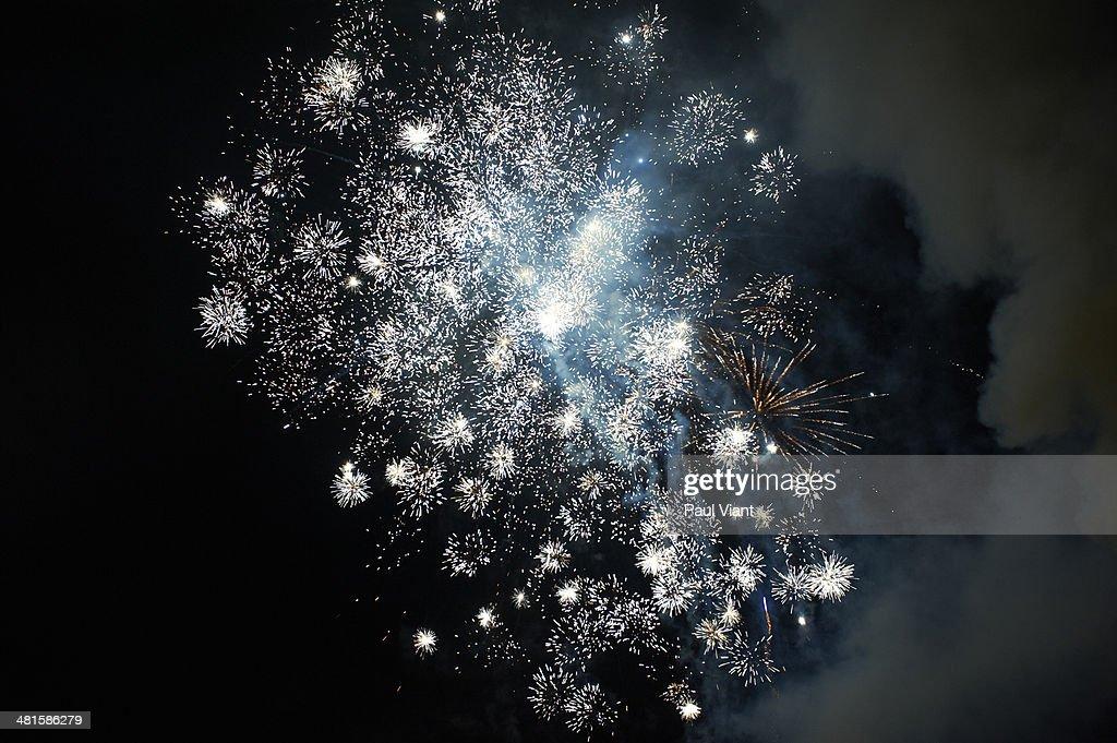 Exploding fireworks in night sky