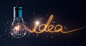 Exploding light bulb with idea word filament