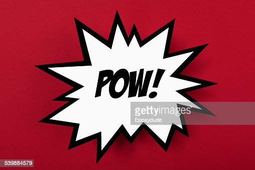 Exploding POW! sign against red background