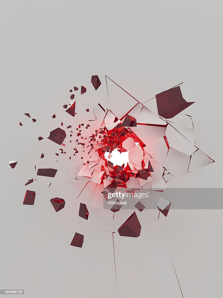 exploding white wall with glowing red parts