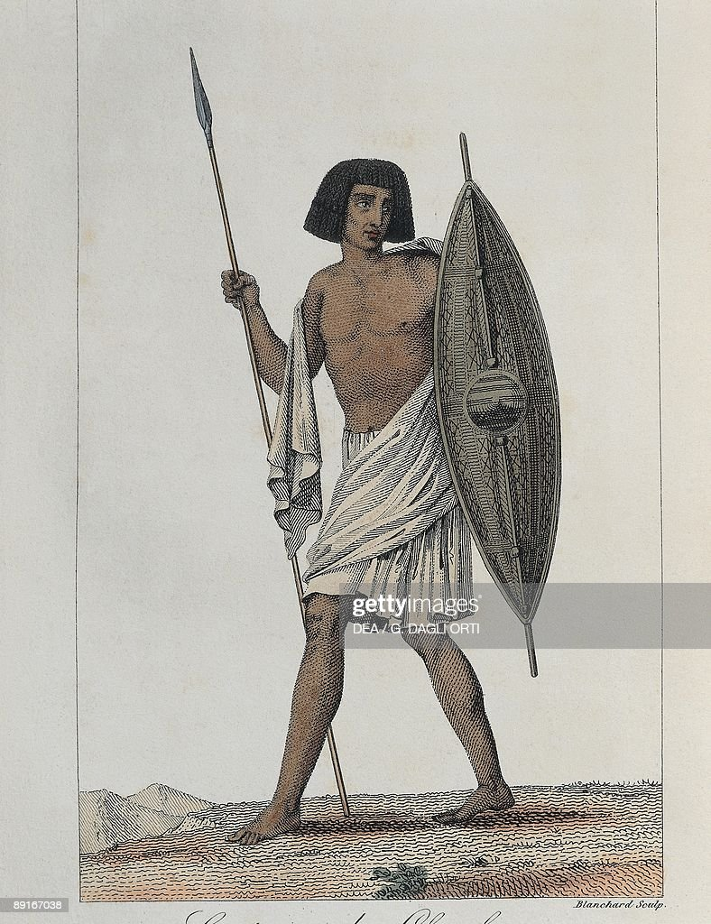 Exploration history, Africa, 19th century, Nubia Chayky costume, Engraving of Blanchard from Voyage a Meroe of Frederic Cailliaud