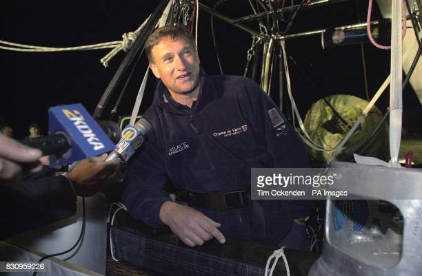Explorer David HempelmanAdams talks to the media prior to setting off from Allegheny County Airport Pennsylvania on his recordbreaking attempt to...