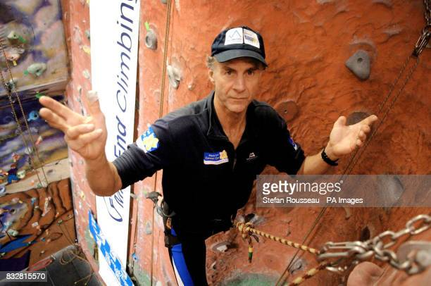 Explorer Sir Ranulph Fiennes practises climbing at the 'Mile End Climbing Wall' in east London today where it was announced that he is to attempt to...