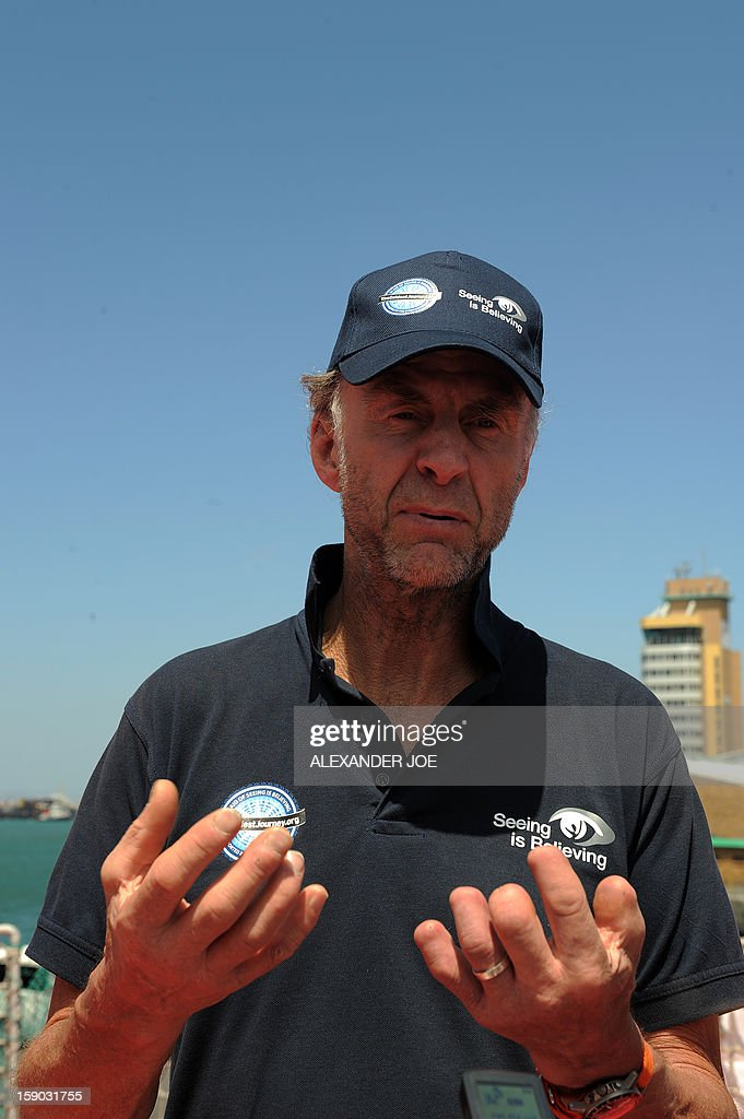Explorer Sir Ranulph Fiennes talks to journalists on January 6, 2013 in Cape Town. Fiennes is leading a team of explorers willing to succeed in the last great polar challenge: crossing Antarctica during the winter. Their attempt aims at raising 10 million US dollars for Seeing is Believing, an organization tackling avoidable blindness. The challenge will take six months - mostly in complete darkness - for more than 2,000 miles. In total, the team will spend an estimated 273 days on the ice, and once under way, travel at an average of 35km per day.