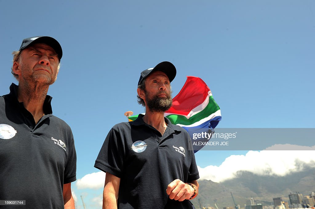Explorers Sir Ranulph Fiennes (L) and Anton Bowring meet journalists on January 6, 2013 in Cape Town. Fiennes is leading a team of explorers willing to succeed in the last great polar challenge: crossing Antarctica during the winter. Their attempt aims at raising 10 million US dollars for Seeing is Believing, an organization tackling avoidable blindness. The challenge will take six months - mostly in complete darkness - for more than 2,000 miles. In total, the team will spend an estimated 273 days on the ice, and once under way, travel at an average of 35km per day. AFP PHOTO / ALEXANDER JOE