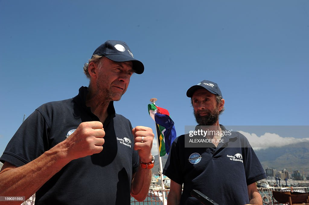Explorers Sir Ranulph Fiennes (L) and Anton Bowring talk to journalists on January 6, 2013 in Cape Town. Fiennes is leading a team of explorers willing to succeed in the last great polar challenge: crossing Antarctica in winter. Their attempt aims at raising 10 million US dollars for Seeing is Believing, an organization tackling avoidable blindness. The challenge will take six months - mostly in complete darkness - for more than 2,000 miles. In total, the team will spend an estimated 273 days on the ice, and once under way, travel at an average of 35km per day.