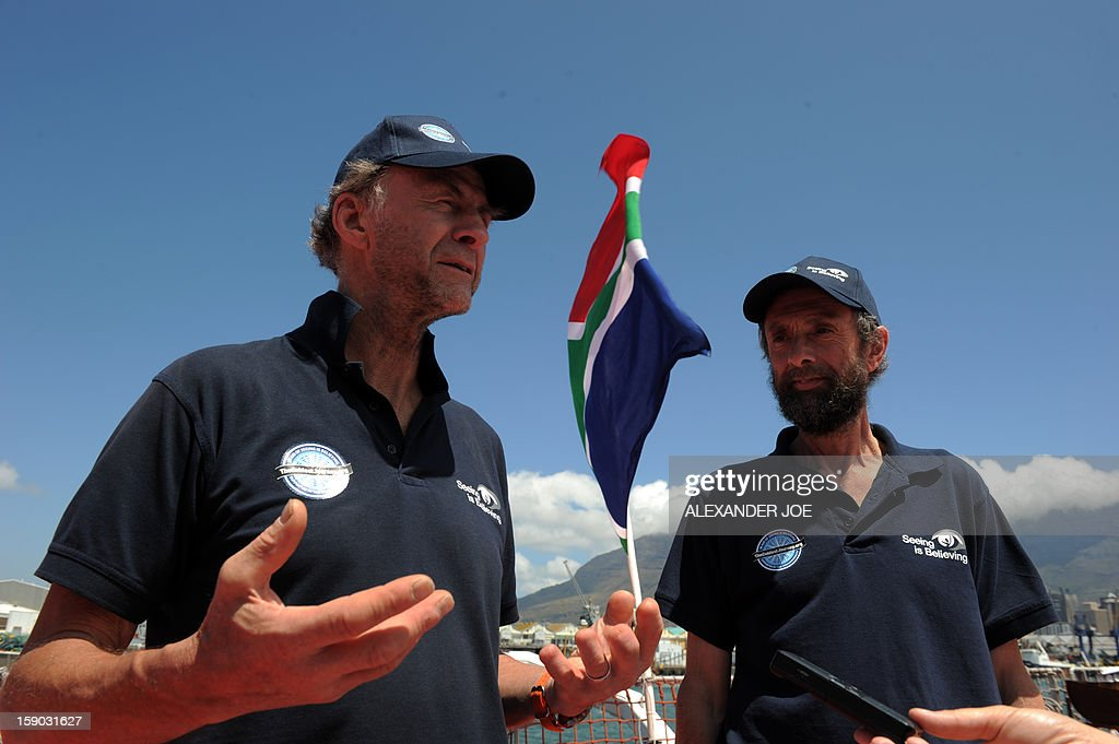 Explorers Sir Ranulph Fiennes (L) and Anton Bowring talk to journalists on January 6, 2013 in Cape Town. Fiennes is leading a team of explorers willing to succeed in the last great polar challenge: crossing Antarctica in winter. Their attempt aims at raising 10 million US dollars for Seeing is Believing, an organization tackling avoidable blindness. The challenge will take six months - mostly in complete darkness - for more than 2,000 miles. In total, the team will spend an estimated 273 days on the ice, and once under way, travel at an average of 35km per day. AFP PHOTO / ALEXANDER JOE