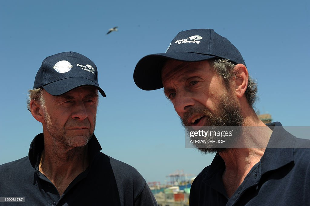 Explorers Sir Ranulph Fiennes (L) and Anton Bowring talk to journalists on January 6, 2013 in Cape Town. Fiennes is leading a team of explorers willing to succeed in the last great polar challenge: crossing Antarctica during the winter. Their attempt aims at raising 10 million US dollars for Seeing is Believing, an organization tackling avoidable blindness. The challenge will take six months - mostly in complete darkness - for more than 2,000 miles. In total, the team will spend an estimated 273 days on the ice, and once under way, travel at an average of 35km per day. AFP PHOTO / ALEXANDER JOE