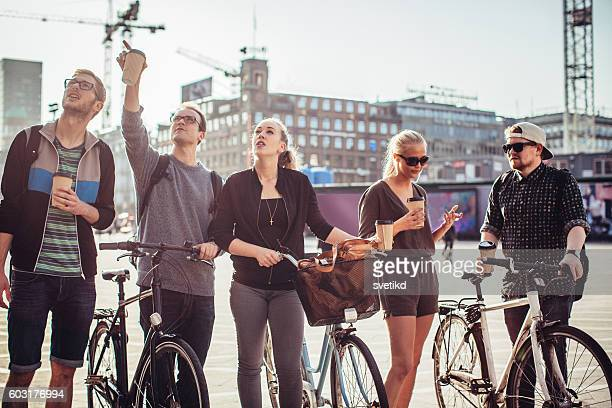 Exploring foreign city on bike