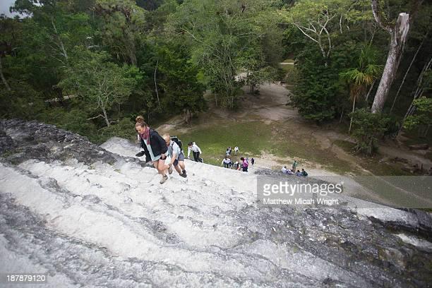 Exploring the Mayan ruins of the Tikal temples
