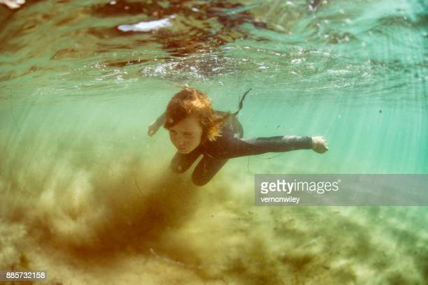 Exploring the sand under the water