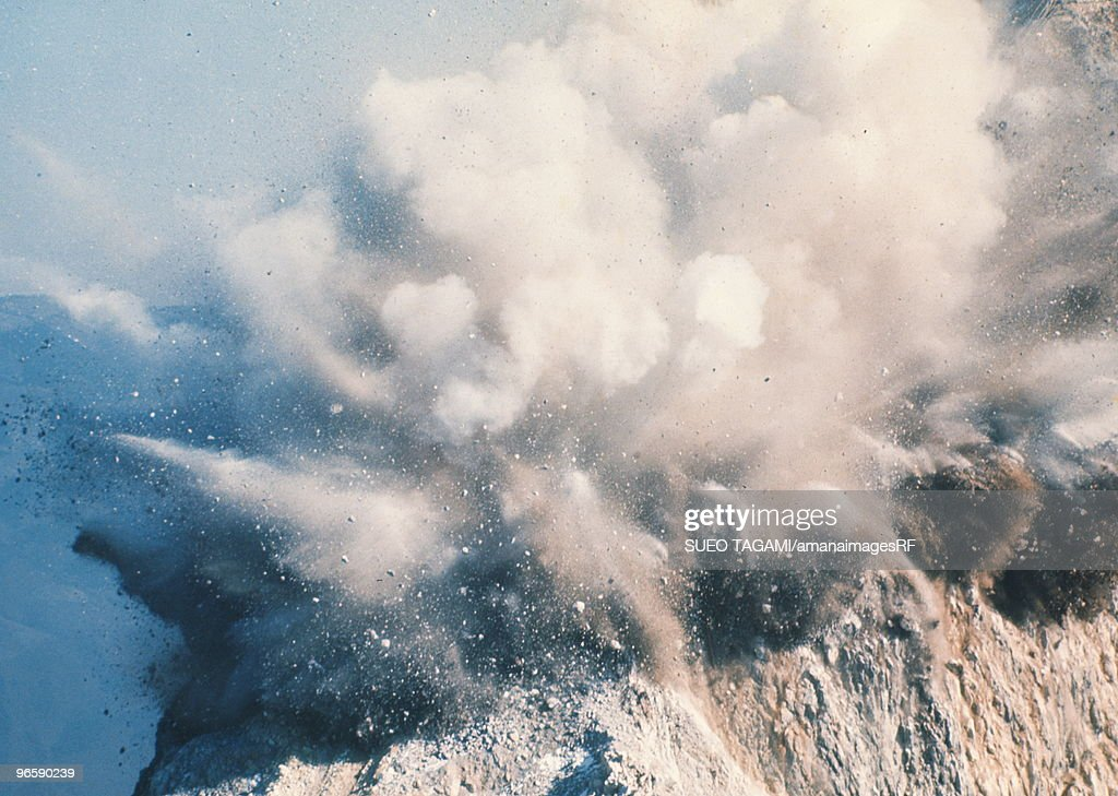 Explosion by dynamite, close up