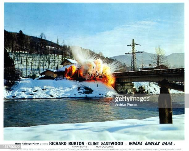 Explosion near bridge in a scene from the film 'Where Eagles Dare' 1968