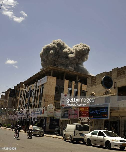 Explosion occurs as Saudiled coalition on Sunday launch fresh airstrikes on the residence of ousted Yemeni President Ali Abdullah Saleh in capital...
