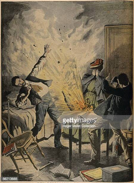 Explosion of a bomb in the bedroom of a Russian nihilist in Paris Engraving 'Le Petit Journal' May 1907